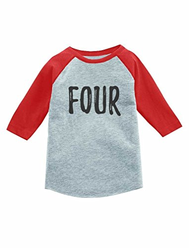 Tees 4th Birthday Gift For 4 Year Old Child 3 Sleeve Baseball Jersey Toddler Shirt 4T Red Offers