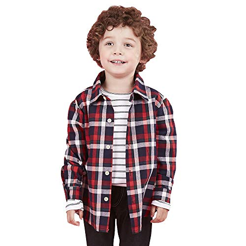 Tag Size 100 SERAIALDA Baby Boys Girls Button Down Plaid Flannel Long Sleeve Shirt 2T-3T