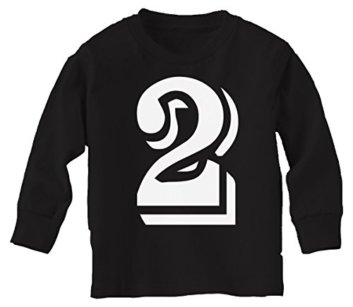 Tees Custom Kingdom Little Boys 2 Number Two Blue Print Second Birthday T Shirt Long Sleeved 2T Black